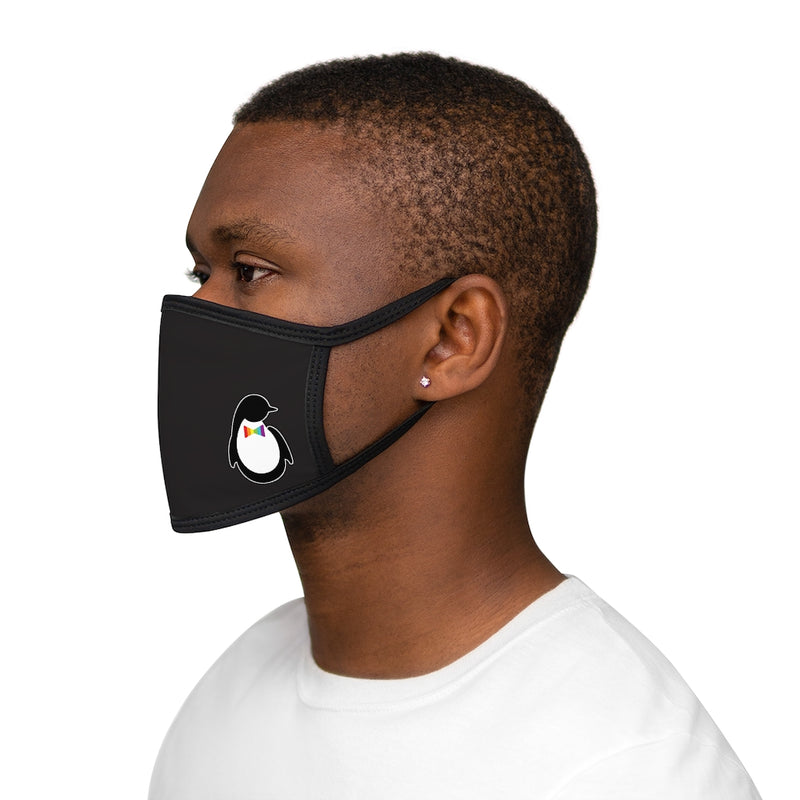 Black Fabric Face Mask with Dash of Pride Penguin Logo - On Man - Side View
