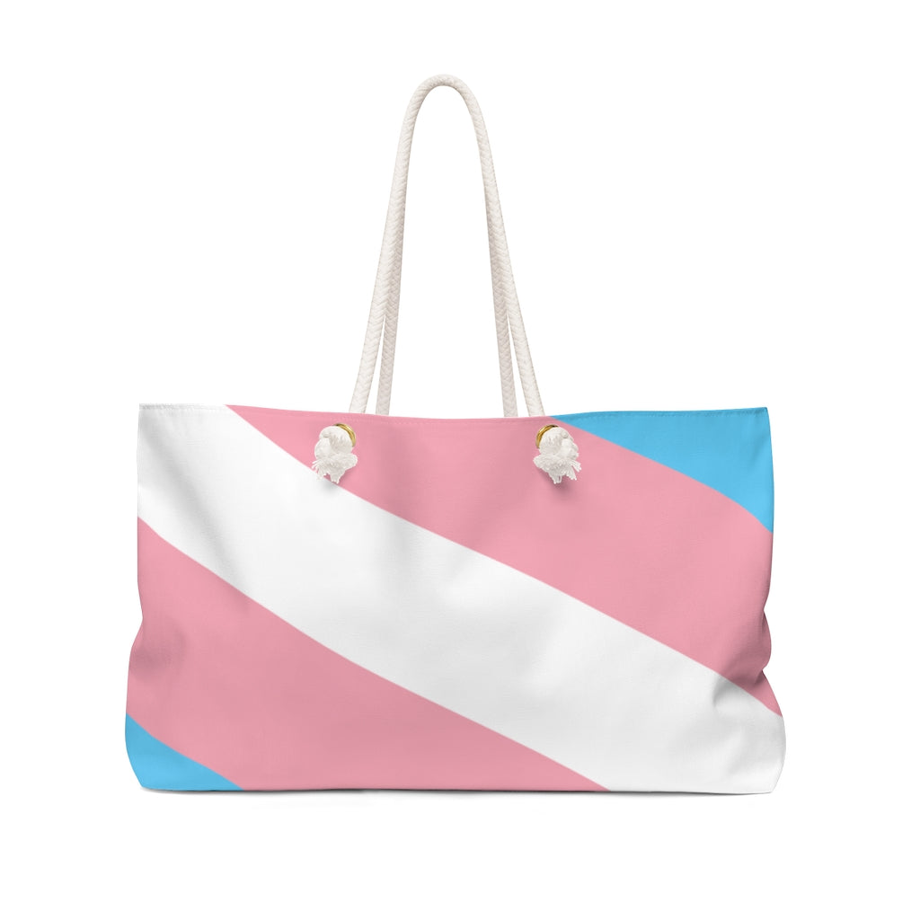 Large Weekender Bag with Transgender Pride Stripes - Rope Handles