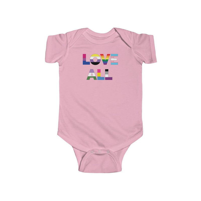 Pink Infant Bodysuit with LOVE ALL in Rainbow Block Letters
