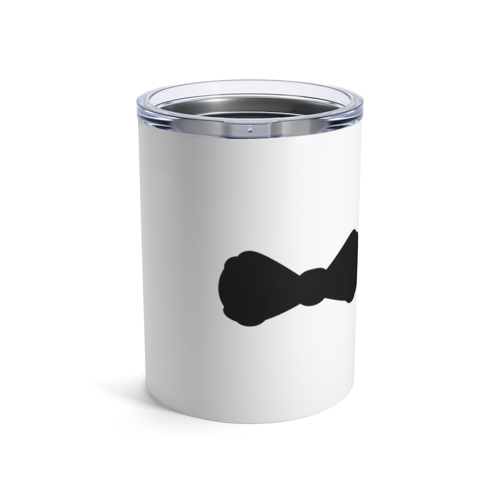 Stainless Steel White Tumbler with a Black Bow Tie - Front View with Lid On