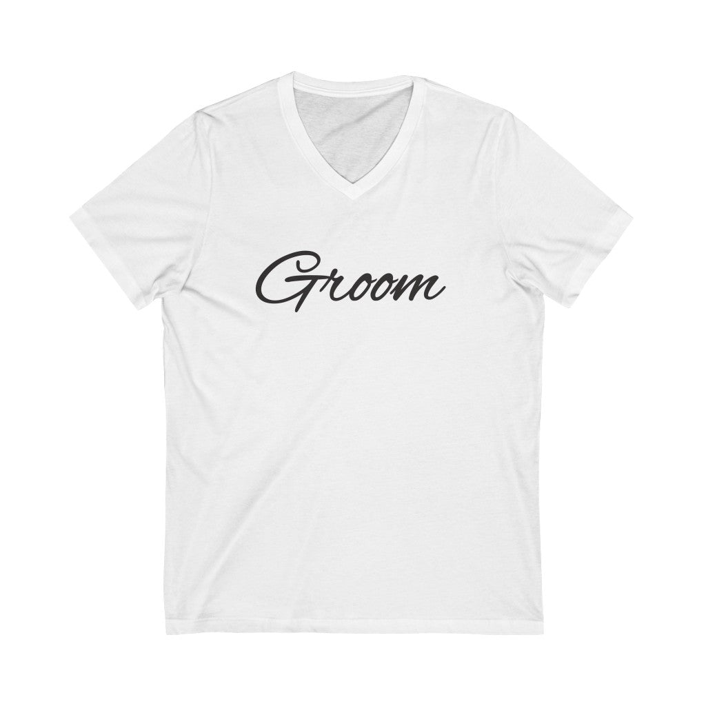 Wedding Day White V-Neck Tshirt with Groom in Black Cursive