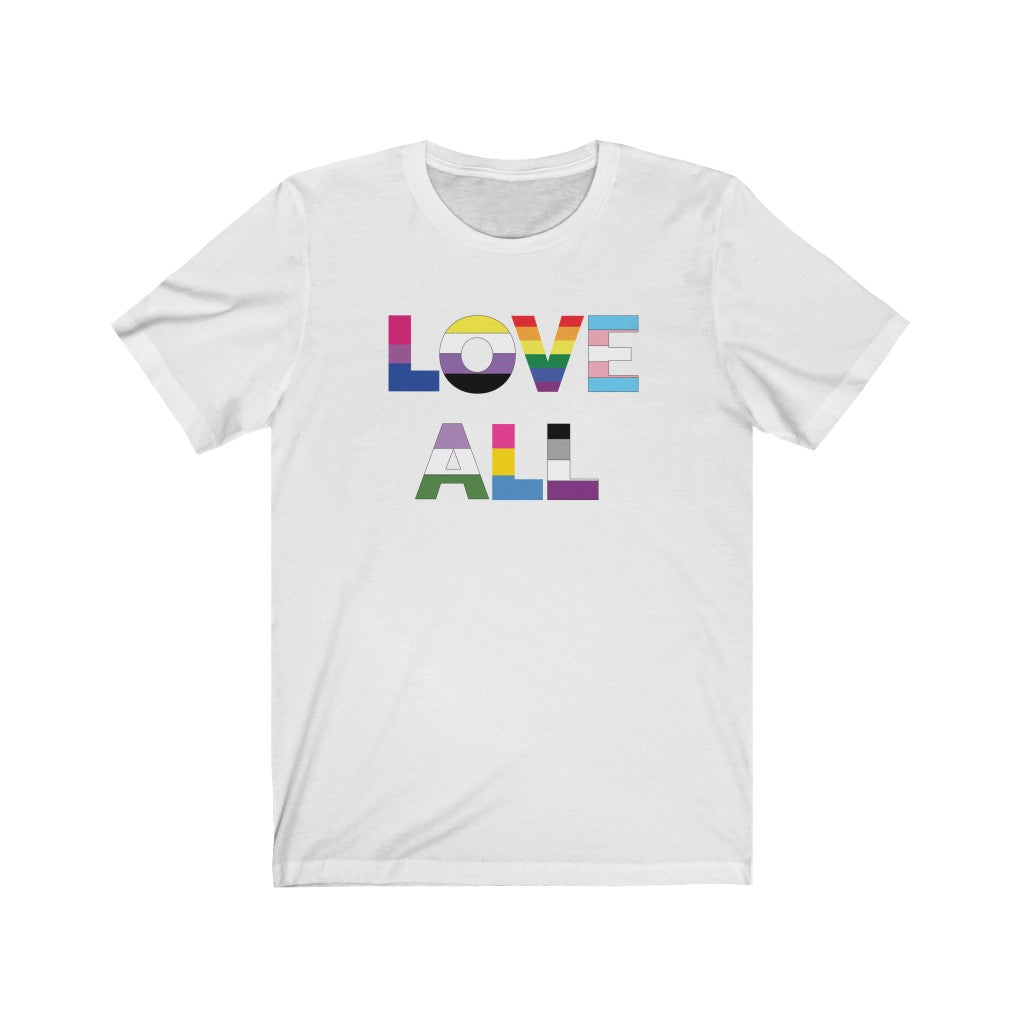 White Crewneck Tshirt with Love All in LGBTQ+ Rainbow Block Letters