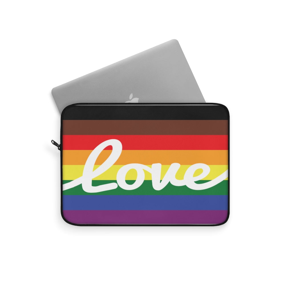 LGBT Pride Flag with Love in White Cursive - Laptop Sleeve - Laptop Peeking Out