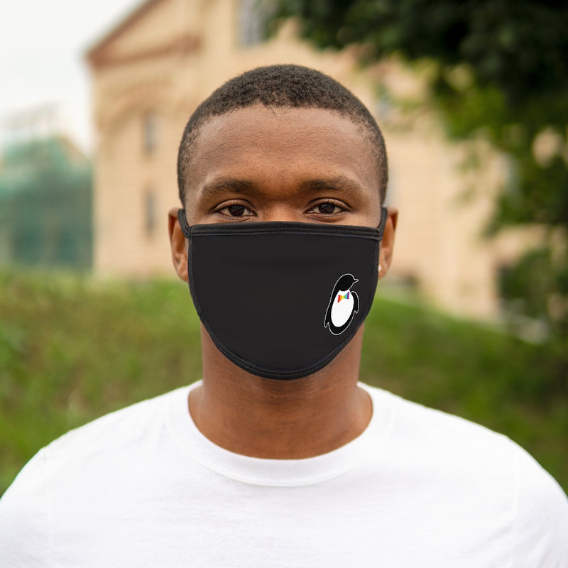 Black Fabric Face Mask with Dash of Pride Penguin Logo - On Man - Front View