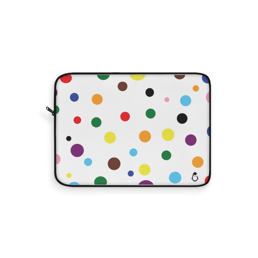 White Laptop Sleeve with LGBT Pride Rainbow Dots and Black Edges