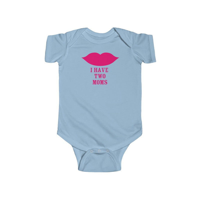 Light Blue Infant Bodysuit with Cartoon Lips - I Have Two Moms in Pink Lettering