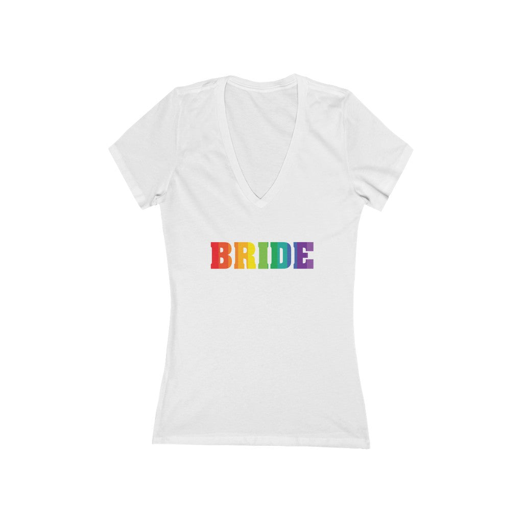 LGBTQ+ Wedding Day White Fitted V-Neck Tshirt with BRIDE  in Vertical Stripe Rainbow Pride Block Letters