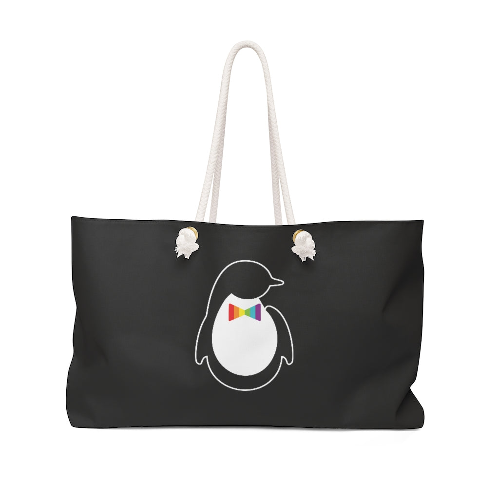 Black Weekender Bag with Rope Straps - Dash of Pride Penguin Logo