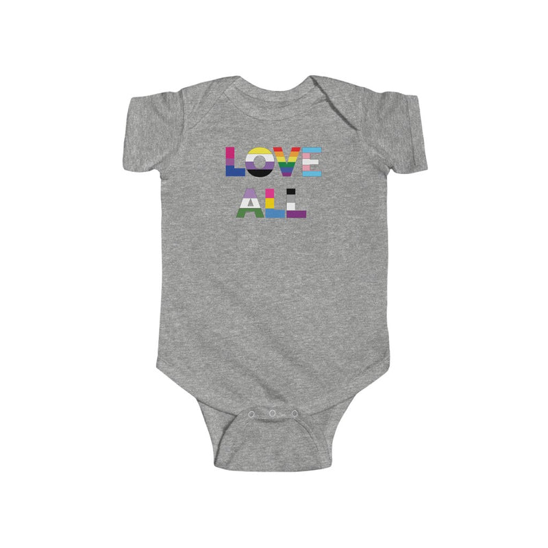 Heather Grey Infant Bodysuit with LOVE ALL in Rainbow Block Letters