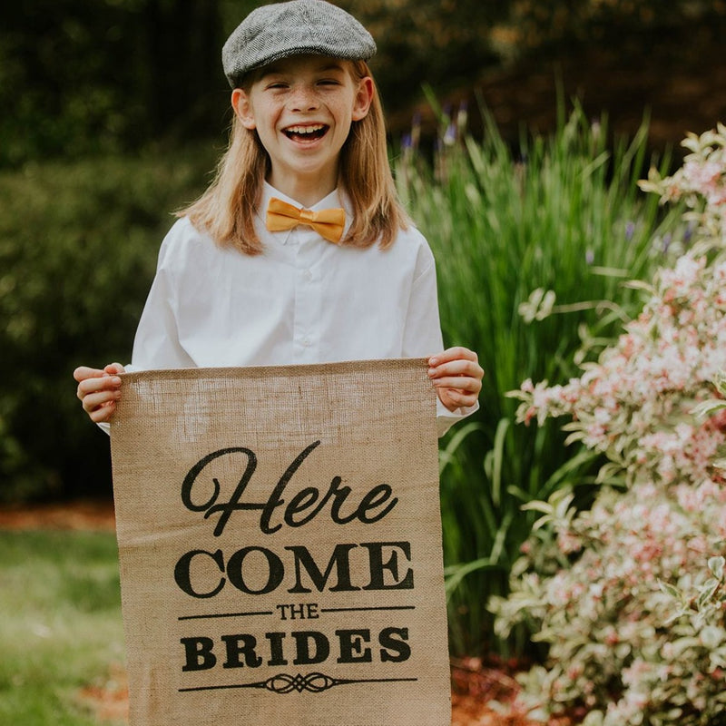 Child Holding Here Come The Brides Brown Burlap Banner - LGBT Wedding