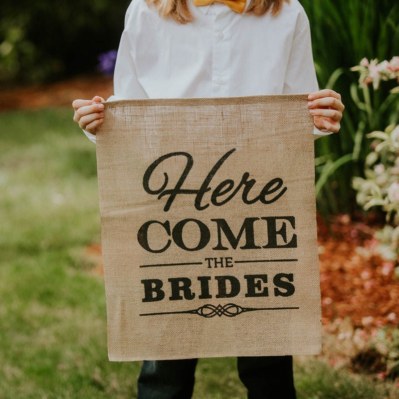 Here Come The Brides Brown Burlap Banner with Child Close Up - LGBT Wedding