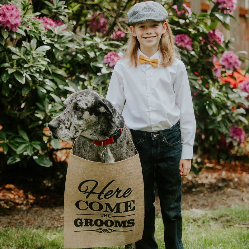 Here Come The Brides Brown Burlap Banner with Child and Dog - LGBT Wedding