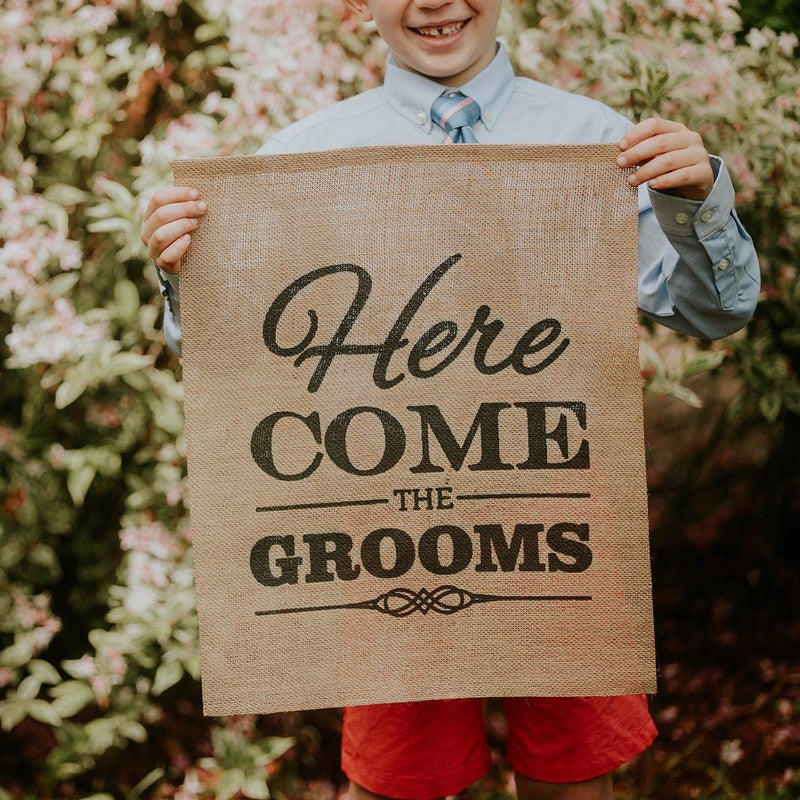 Here Come The Grooms Brown Burlap Banner with Child Close Up  - LGBTQ Wedding Day