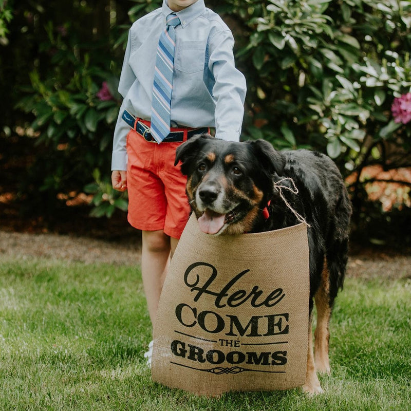 Here Come The Grooms Brown Burlap Banner with Child and Dog - LGBTQ Wedding Day