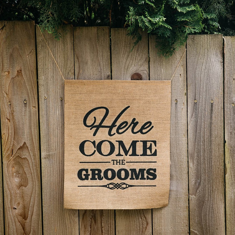 Here Come The Grooms Brown Burlap Banner on Fence - LGBTQ Wedding Day