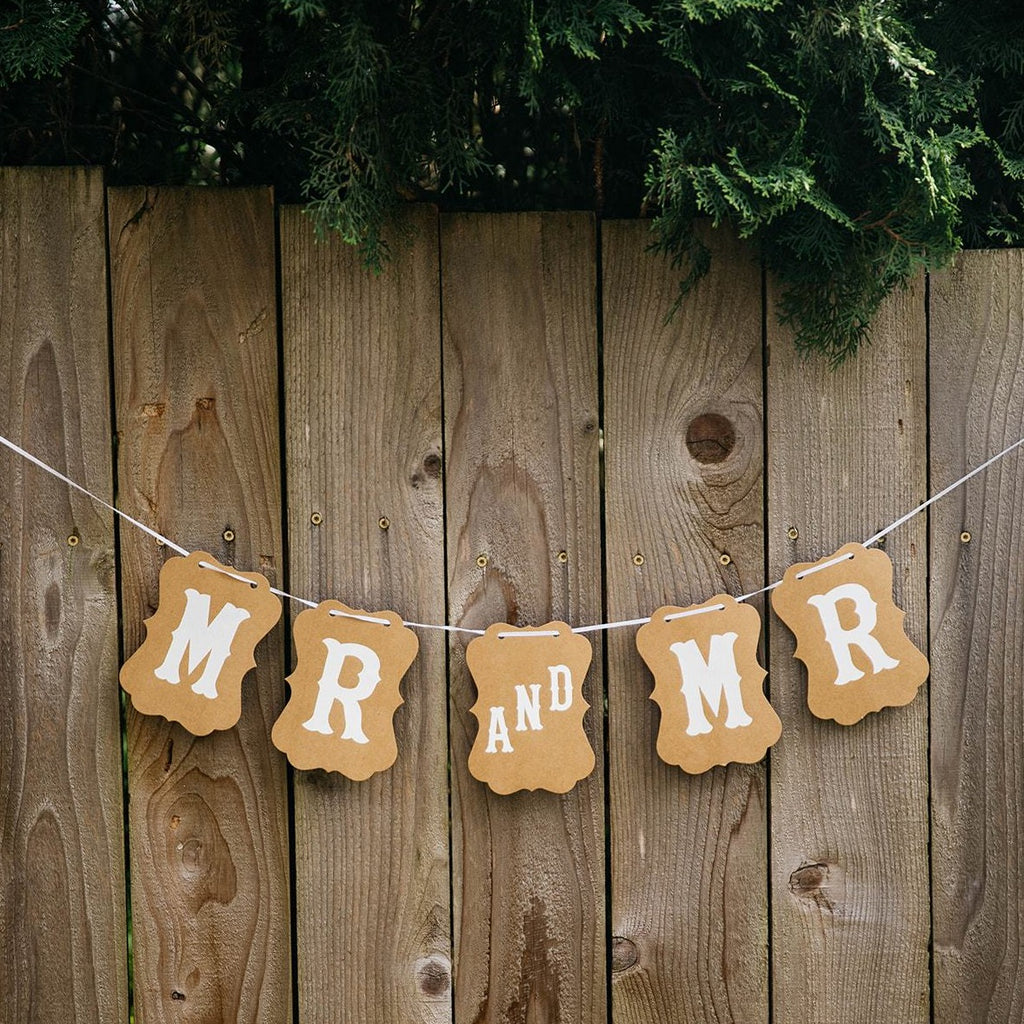 Mr and Mr Brown Craft Banner Hanging from Wooden Fence