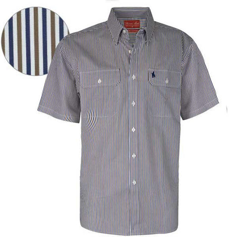 *Thomas Cook Mens Terrigal Stripe 2-Pocket S/S Shirt (T6S1110002)