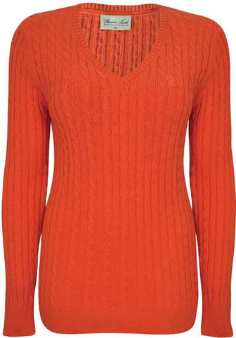 Thomas Cook Womens V-Neck Cable Jumper (T7W2500079)