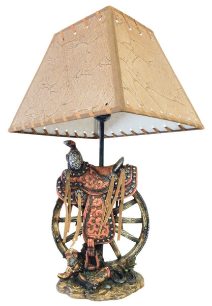 Western Saddle on Wagon Wheel Lamp (7084 / 7085)