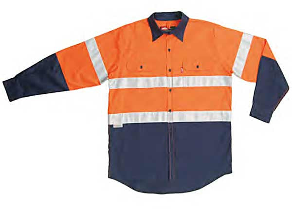 Jonsson Work Shirt Lightweight Cotton Two Tone Long Sleeve with Tape (G1018)