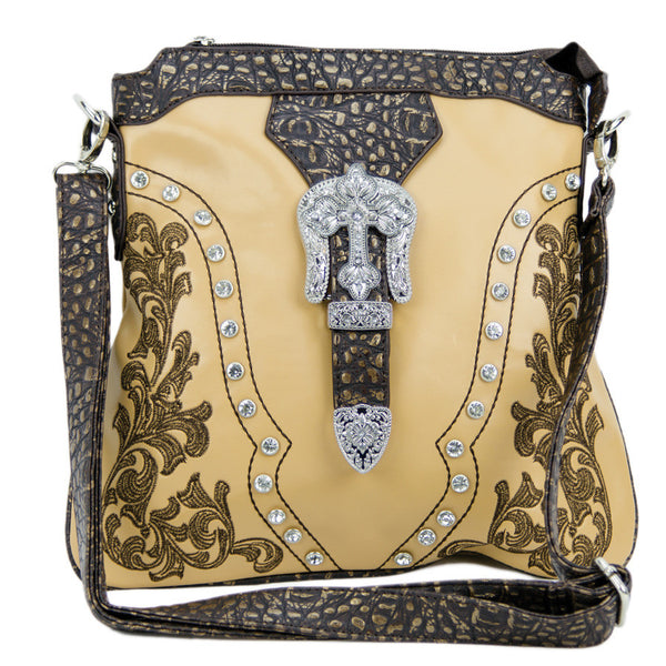 Brigalow Embroidered Faux Leather Handbag (HB1006BE)