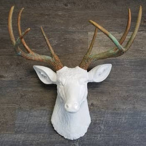 Faux White Deer Head With Green Patina Antlers