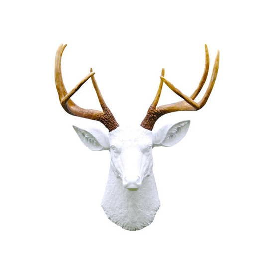 Faux White Deer Head and Brown Antlers
