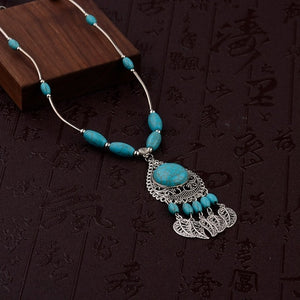 Water Drop and Leaves Shape Necklace With Beads