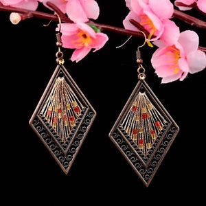 Women's Ethnic Silk Rhombus Alloy Beads Drop Earrings - Shopnep Store