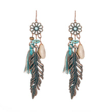 Load image into Gallery viewer, Ethnic Tassel Fringe Leaf Stones Earrings - Shopnep Store