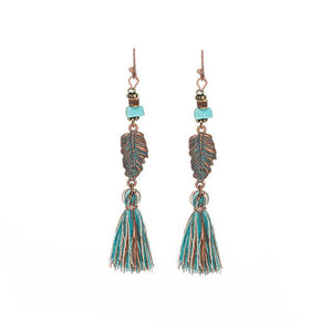 Ethnic Tassel Fringe Leaf Stones Earrings - Shopnep Store