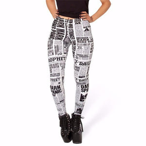 Digital Print Black letter white paper styles women's Fitness Leggings  - Shopnep Store