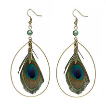 Load image into Gallery viewer, Natural Peacock Feather Big Earring - Shopnep Store