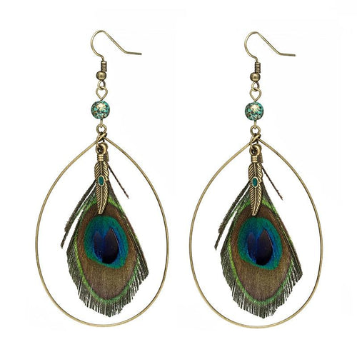 Natural Peacock Feather Big Earring - Shopnep Store