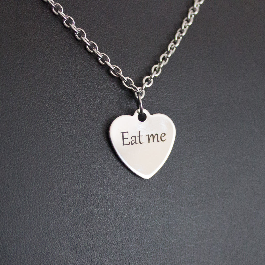 Eat me heart charm necklace