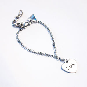 Love/Hate heart charm bracelet