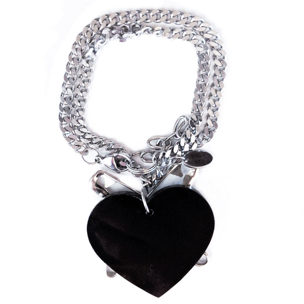2 - 1 Punk at Heart bracelet & necklace (black)