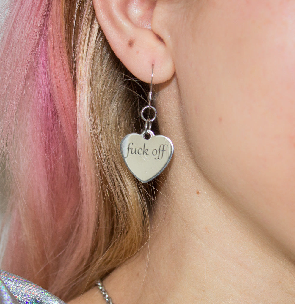 Fuck off heart charm earrings