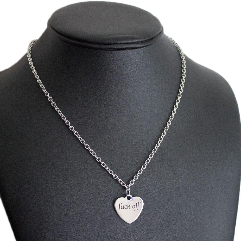 Fuck off heart charm necklace