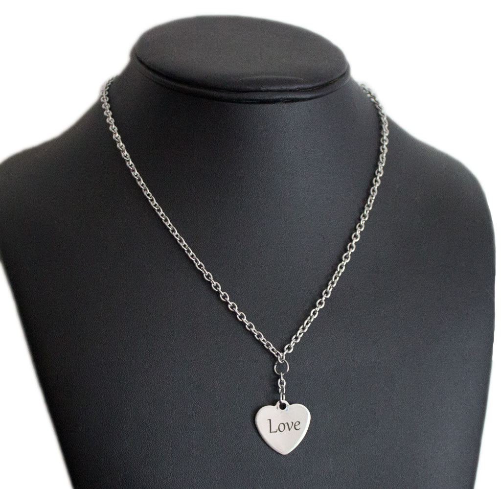 Love/Hate heart charm necklace