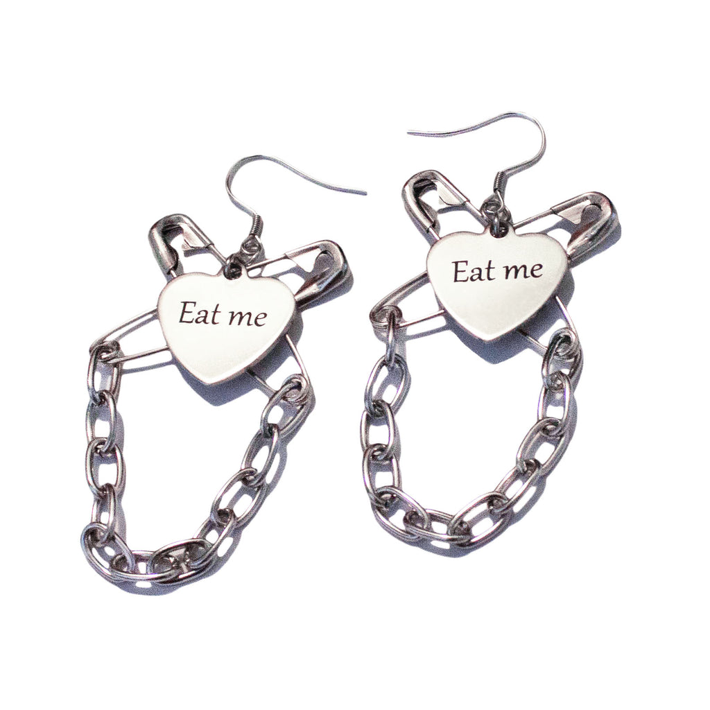Eat me chain gang earrings