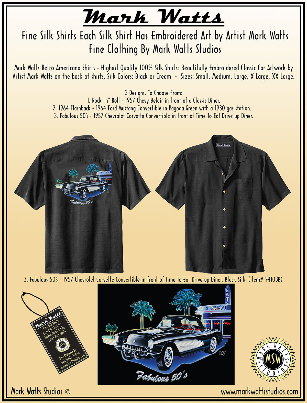 Mark Watts Retro Americana Shirts Highest Quality 100 Silk 1957 Chevy Bel Air Convertible Colors Close Up Embroidered Images Below