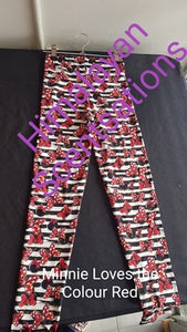 Minnie loves the colour red Kids Leggings