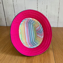 Load image into Gallery viewer, Rainbow Bucket Hat Hot Pink