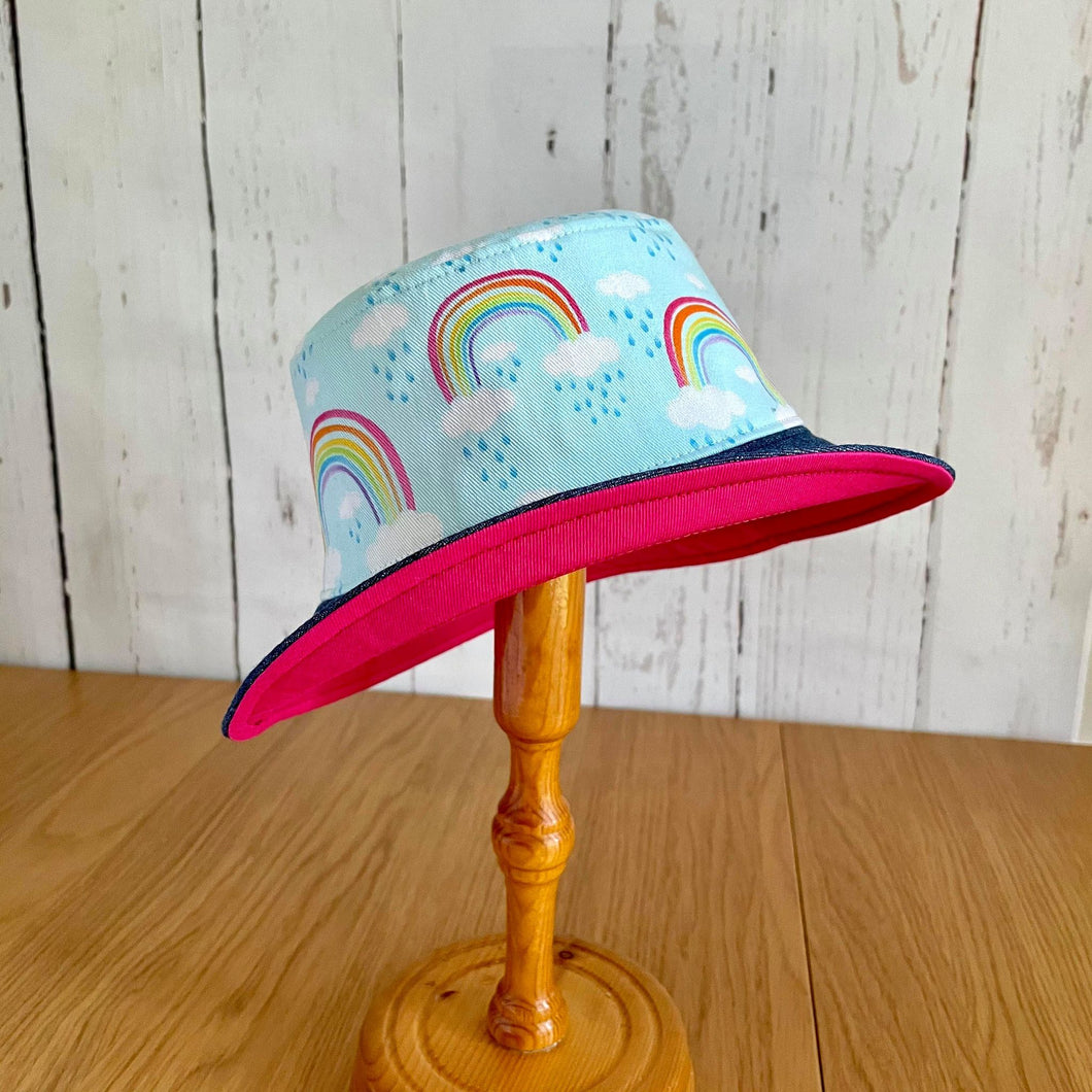 Rainbow Bucket Hat Hot Pink