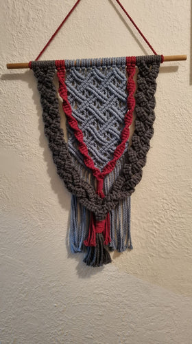 Grey and Red Macrame Wall Hanging