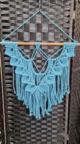 Blue Flower Petal Macrame Wall Hanging