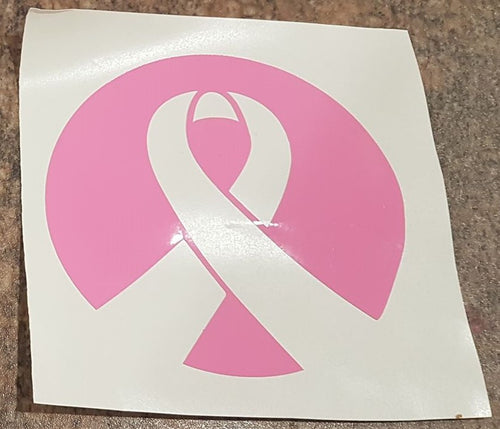 Pink Ribbon Circle Car Window Sticker