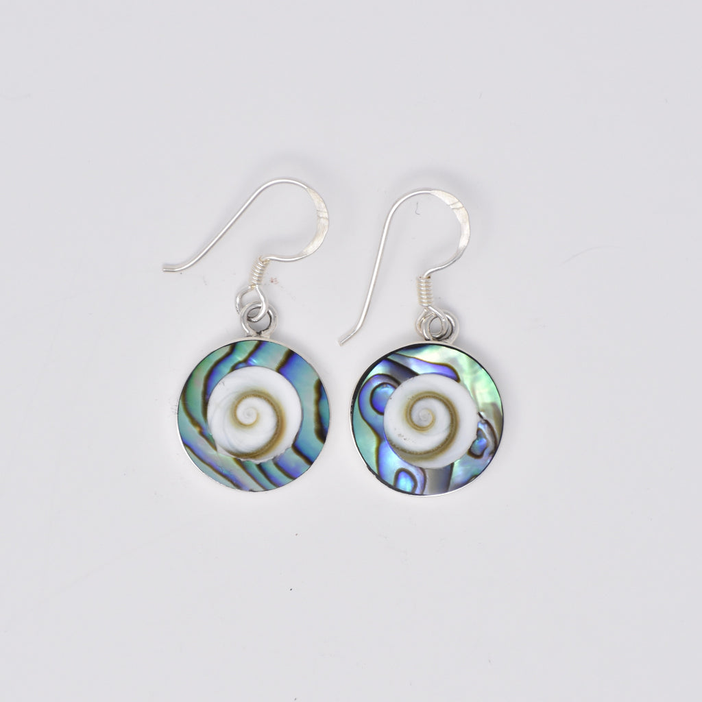 Round Shiva's Eye with Color Lined Earrings