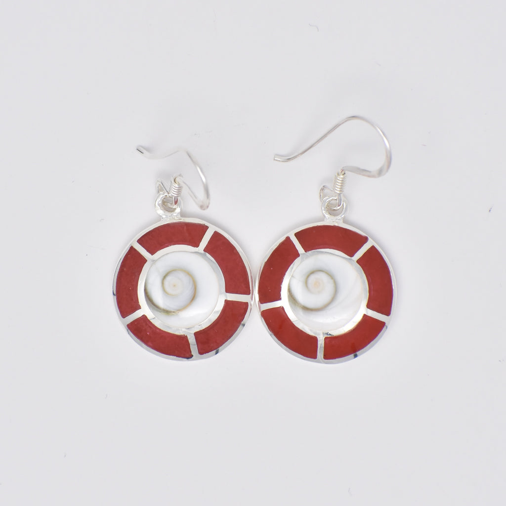 Round Shiva's Eye with Dashed Lined Earrings